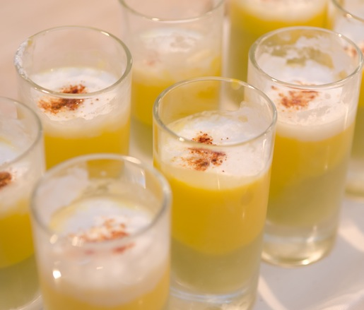 Panamanian Green Tomato, Chilled Pumpkin Cream, and Parmesan Foam Shooters with Onion Ash