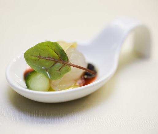Fluke Crudo with Black Garlic, Cucumber, and Ginger