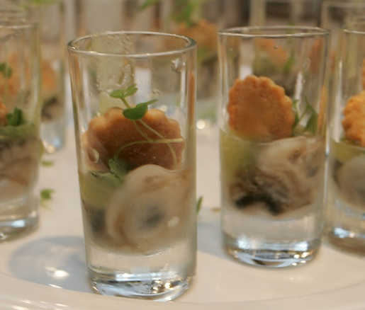 Oyster Martinis with Bittermens Bitters and Green Apple