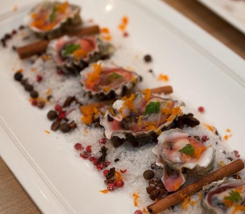 Kushi Oysters with Negroni Gelée