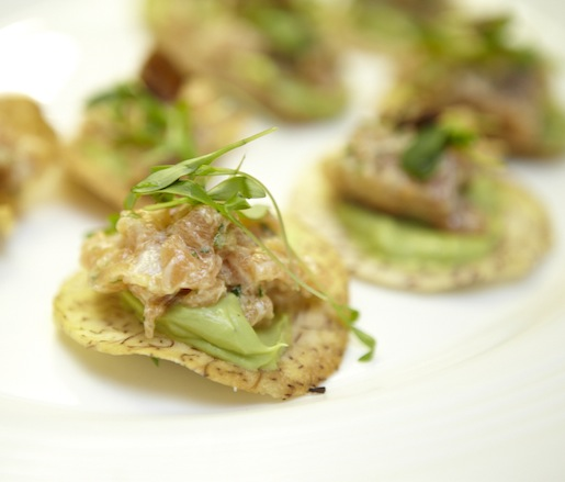 Salmon Tartare with Crispy Duck Skin and Avocado