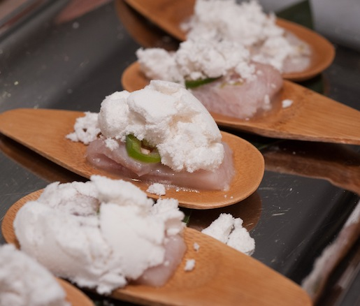 Yellowtail Tiradito with Coriander Sea Salt and Coconut Oil Dust