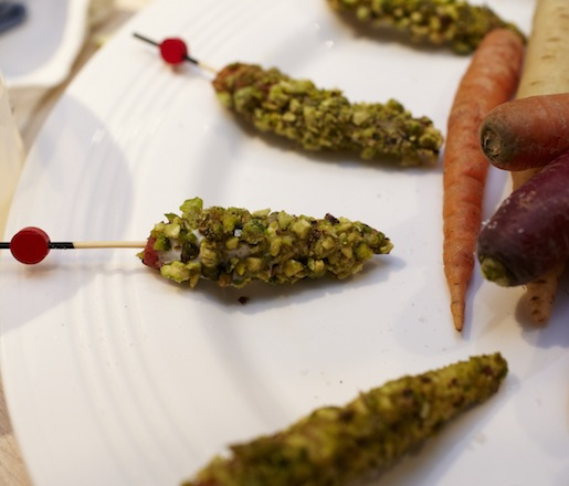 Moroccan-Spiced Carrots with Pistachios and Robiolina Dipping Sauce