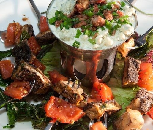 Crispy Portobello Mushrooms with North Country Applewood-Smoked Bacon–Gorgonzola Fondue and Crispy Herbs