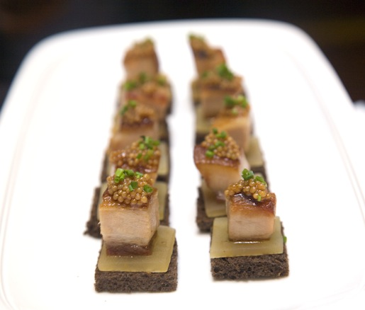Hudson Valley Foie Gras Torchons with Concord Grapes on Chocolate Brioche