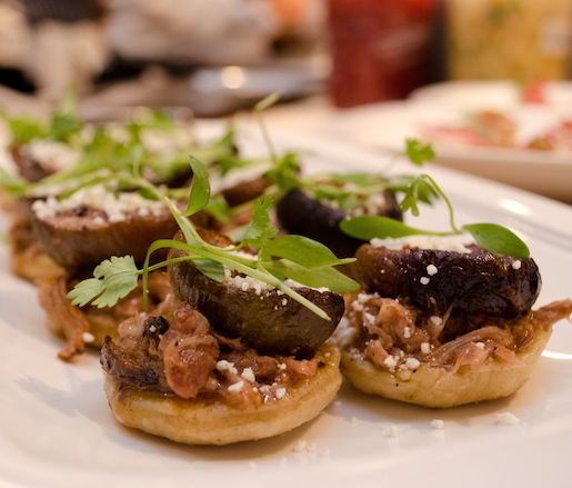 Lamb Neck Barbacoa Sopes with Slow-Roasted Figs and Cotija Cheese