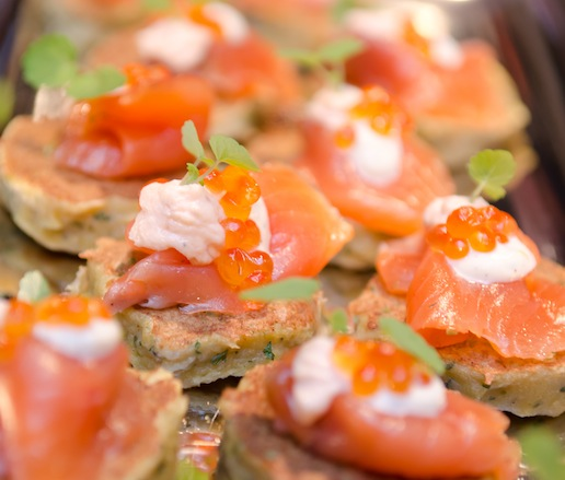 Smoked Quinault River Blueback Salmon and Roe with Orange–Pepper Crème Fraîche on Potato Blini