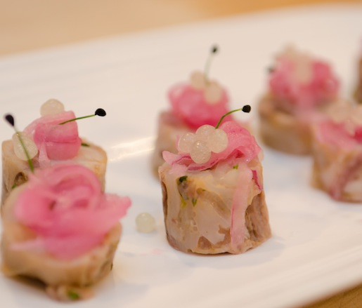 Pickled Pigs' Feet with Lemon, Cucumbers, Micro-Cilantro, and Onions