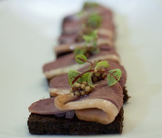 Duck Ham with Pumpernickel and Pickled Onions