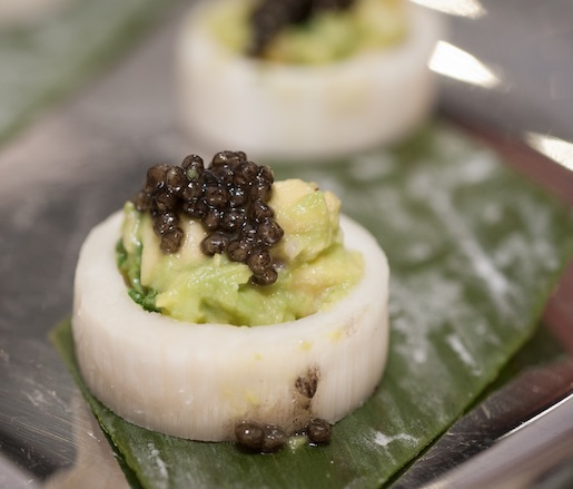 Hearts of Palm Marrow with Avocado and Petrossian Caviar