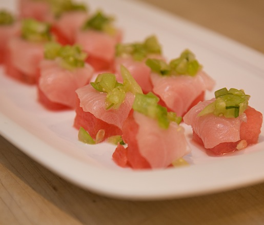 Hamachi Crudo with Watermelon and Yuzu