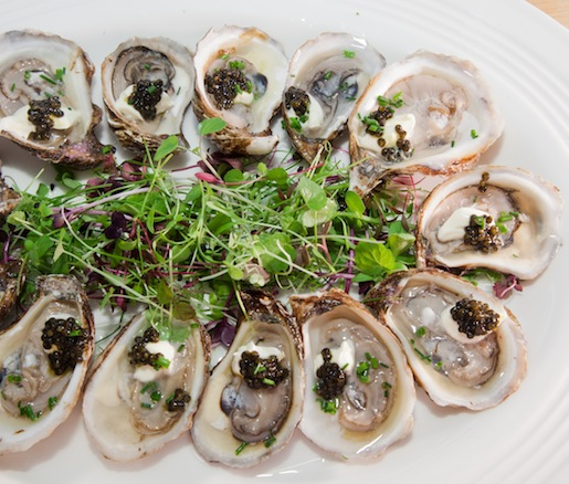 Prussian Pearl–Style St. Simon Oysters with Crème Fraîche and Chilled Pinckney Bend Distillery Vodka