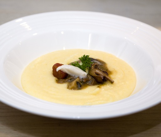 Soft Polenta with Mushroom Confit and Chianti–Lard Mousse