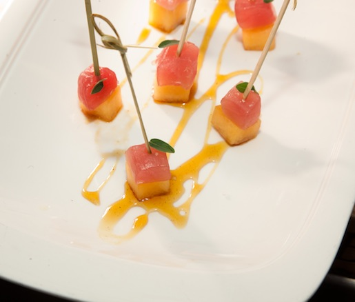 Tuna Brochettes with Muskmelon, Olive Caramel, and Marjoram