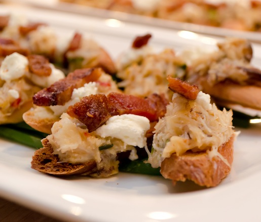 Texas Crab Gratin with Lorberau Farms Goat Cheese and House-Cured Four String Farm Bacon