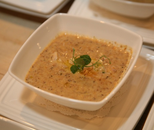 Roasted Wild Mushroom Soup with LaPera Bros. Poultry Label Rouge Chicken Confit, Shallots, Sherry, Thyme, and Cream