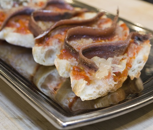 Escalivada con Anchoas > Roasted Red Peppers, Onions, and Eggplant with Sherry Vinaigrette and Spanish Anchovies on Toasts