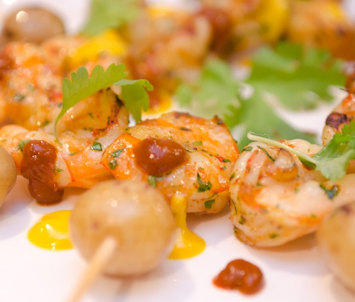 Key West Pink Shrimp Anticuchos with Baby Potatoes and Two Chili Sauces