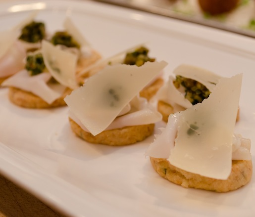 Moderno Lardo and Black Walnut Pesto Crostini