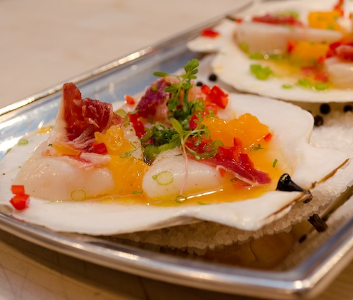 Scallop Ceviche with Tangerines, Red Chilies, Fennel, and Ibérico Ham
