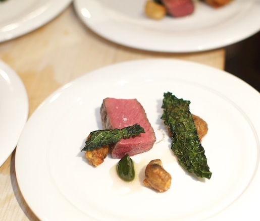 Venison Saddle with Sunchokes, Kale, and Lacto-Fermented Berries