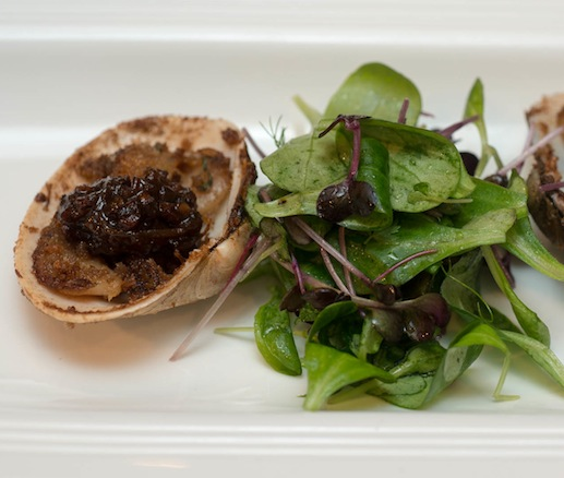 Skelly's Butter Clams with Red Onion–Bacon Jam, Herbed Pain de Mie, and Miner's Lettuce