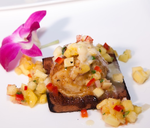 Cedar Plank–Roasted Jumbo Lump Blue Crabcake with Madras Curry, Sweet Peppers, and Pineapple–Mango Salsa Cream
