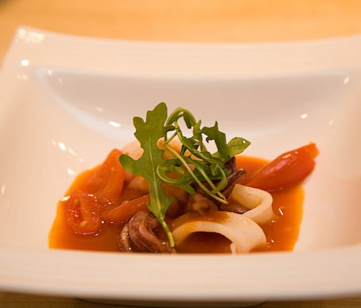 Calamari with Smoked Tomato Broth, Arugula, and White Truffle Oil