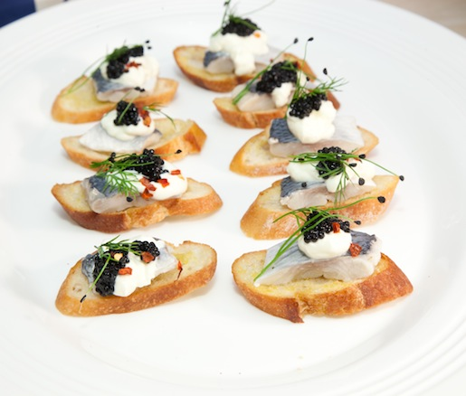 Pickled Herring Bruschetta with Smoked Herring Roe and Crème Fraîche