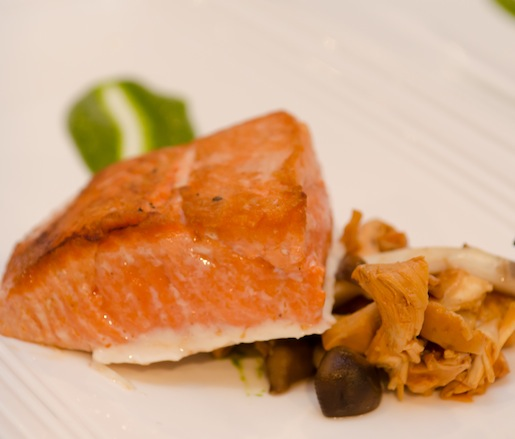 Seared Columbia River Salmon with Cider-Marinated Wild Mushrooms and Nasturtium Pesto