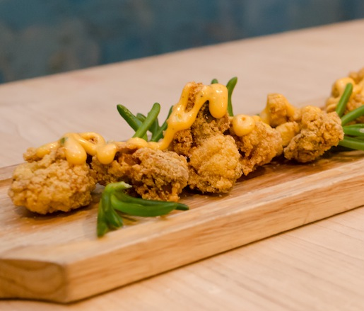 Cornmeal-Crusted Aransas Bay Oysters with Sriracha Rémoulade