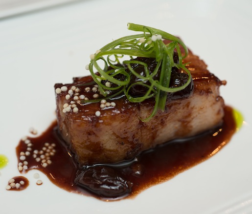 Pittsburg Peach Wood–Smoked Pork Belly with Bing Cherry–Port Reduction
