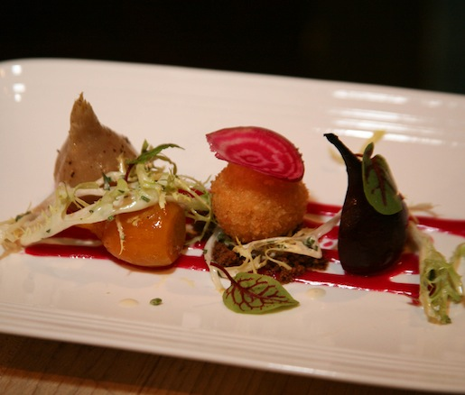Roasted Wynn Farm Baby Beets With Frisée, Jumpin' Good Goat Dairy Goat Cheese Beignet, Beet Emulsion, Ranch Dressing, and Pumpernickel