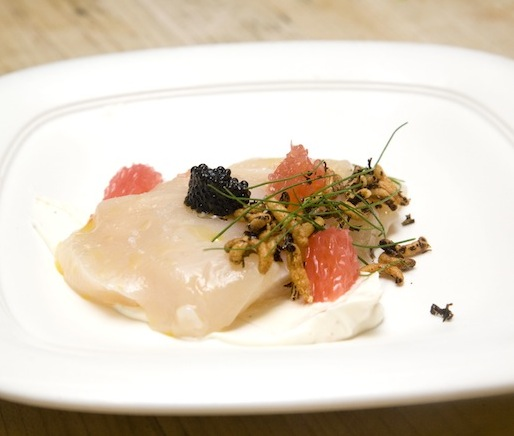 Scallop Crudo with Black Pepper Yogurt, Grapefruit, and Caviar