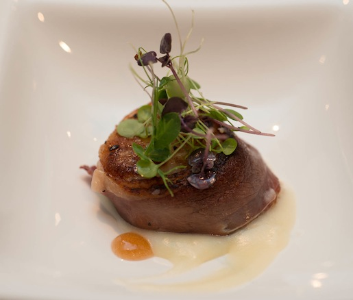 Caramelized Moulard Duck Bacon–Wrapped Scallop with Parsnip–Shallot Purée, Banyuls Reduction, and Watercress