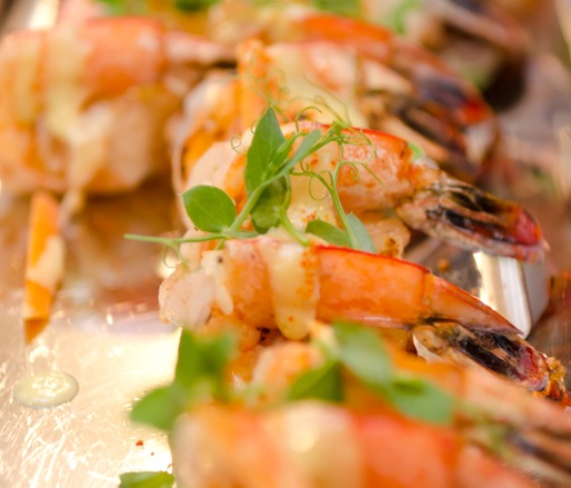 Grilled Louisiana Gulf Prawns with Togarashi Grits, Pickled Baby Carrots, and Horseradish