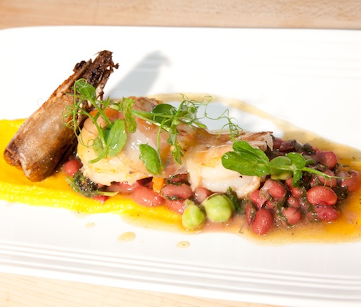 Key West Pink Shrimp with Fall Squash Purée, Heirloom Peas, Baby Black Kale, Guanciale, and Fuji Apple Vinaigrette