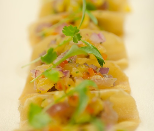 Tuna Tacos > Crispy Spring Roll Wrappers, Avocado Crema, Yellowtail Tartare, and Micro-Cilantro