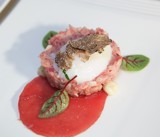 Tuna Tartare with Soft-Poached Egg, Pickled Fennel, and Summer Truffles
