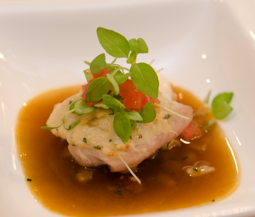 Spiny Lobster–Crusted Florida Lane Snapper with Palmetto Creek Farms Pork Belly Hash and Korean Chili–Herb Broth