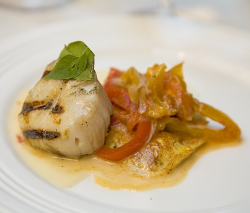 Seared Scallop with Corn Pancake and Peperonata
