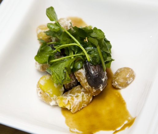 Roasted Fingerling Potato–Field Green Salad with Horseradish Cream and Onion Caramel