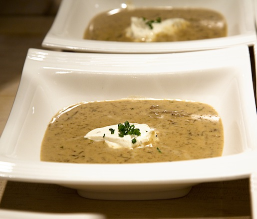Cream of Porcini Mushroom Soup with Black Truffle Crème