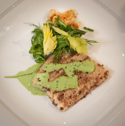 Jerked Trout with Celery Leaves, Nut Salad, and Green Goddess Sauce