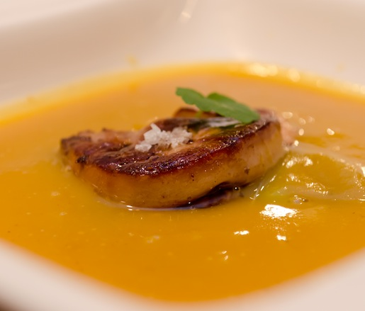 Roasted Pumpkin Bisque with Seared Foie Gras