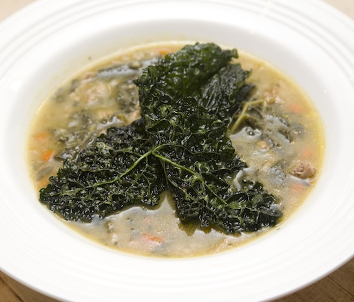 Pheasant–Farro Soup with Crispy Black Kale