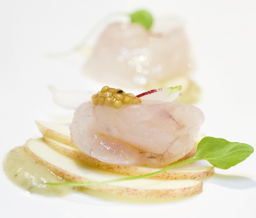 Dayboat Fluke Crudo with Terhune Orchard Apples, Apple Mustard, and French Breakfast Radishes