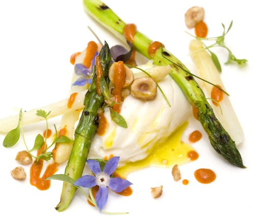 Burrata with Charred Asparagus and Harissa