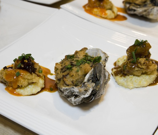 Gulf Oyster Trio > Oysters Bienville, Barbecued Oysters, and Fried Oysters with Hot Sauce and Pepper Jelly