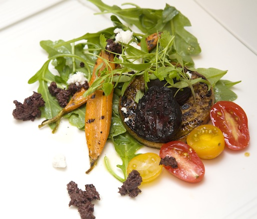 Chapa-Style Vegetables and Morcilla with Goat Cheese and Vinaigrette